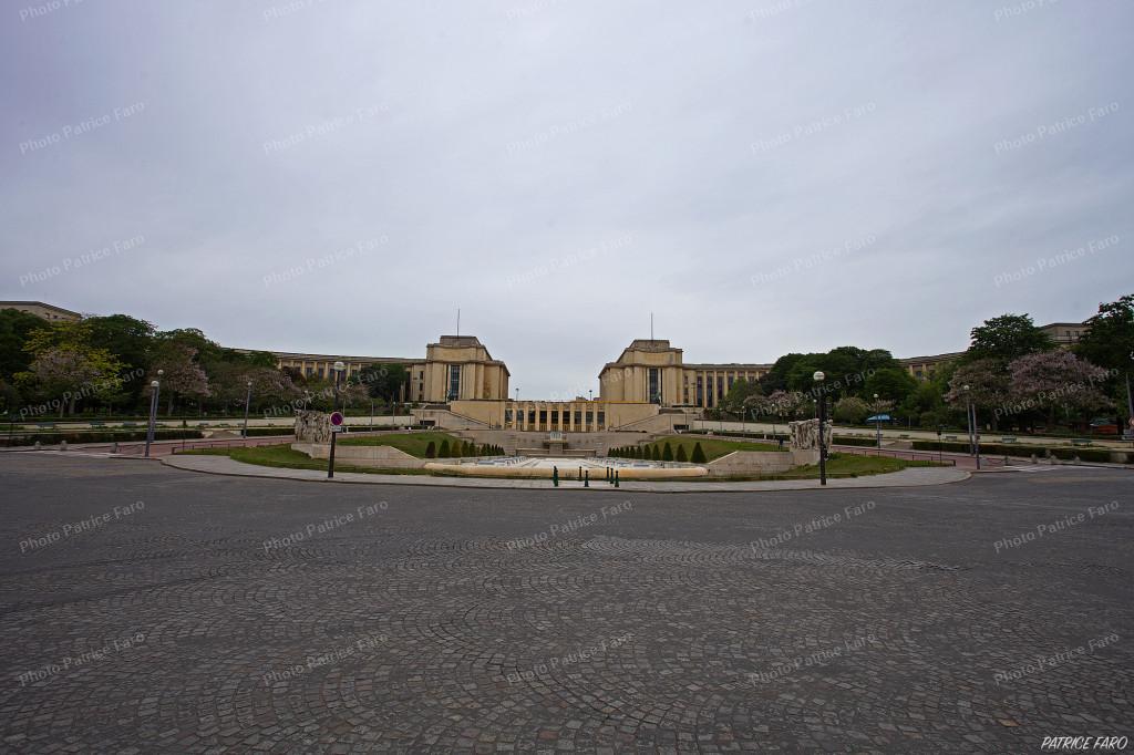Esplanade du Trocadéro à Paris en confinement